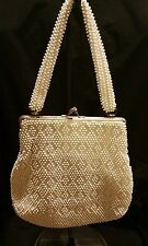 Vintage Lumered Ivory Bead Bag 1940's Lovely