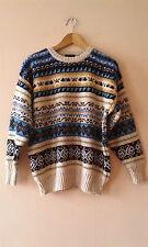 "90s vintage patterned wool granddad jumper L XL 47"" hipster geek"