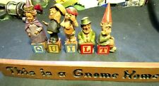 "5 Vintage Tom Clark Alphabet Gnomes Spelling ""Quilt"" With Dealers Sign Quilter?"
