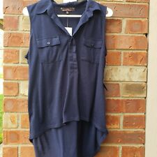 Almost Famous Sleeveless Collar Top With Pockets Hi- Lo Size Xl Navy Color