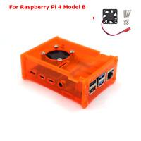 Orange Acrylic Case Enclosure Box /w Cooling Fan for Raspberry Pi 4 Model B