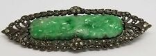 ANTIQUE ART DECO NATURAL CHINEESE CARVED MOSS ON SNOW JADE JADEITE STERLING PIN