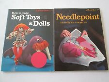 SUNSET LOT OF 2 CRAFTS PAPERBACKS HOW TO MAKE SOFT TOYS & DOLLS and NEEDLEPOINT