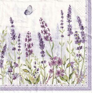 4x PAPER NAPKINS for Decoupage LAVENDER FIELD Flowers Floral