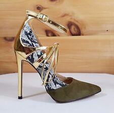 "Alba Jamie Olive Green Snake & Gold Pointy Toe High Heel Pumps Shoes 4.5"" Heels"