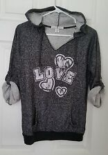 "Derek Heart Juniors Sz S ""Love"" 3/4 Sleeve Hoodie Black/White Hooded Sweatshirt"