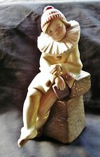 Retired Lladro #5203 Little Jester Figurine Pensive Sitting Clown Holding Book
