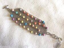 NEW 4mm Handmade Clay Viva Beads CURRANT COCONUT MULTI COLOR Soft Mesh Bracelet