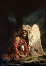 VINTAGE JESUS CHRIST ANGEL RELIGIOUS SPIRITUAL GETHSEMANE CANVAS ART PRINT BIG