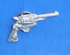 Western Decorament Bright Silver Revolver Cowboy Hat Pin/Tie Tack/Lapel Pin