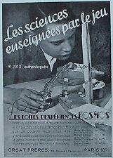 PUBLICITE KOSMOS BOITE DE JEU EXPERIENCE SCIENCE CHIMIE ORSAT FRERES DE 1931 AD