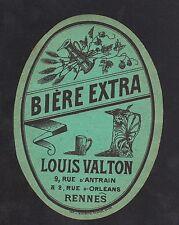 """RENNES (35) ETIQUETTE Ancienne BIERE EXTRA """"LOUIS VALTON"""""""