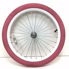 """Complete 18"""" Bicycle Front White Wheel w/ Red/Pink Tire 1.95"""" Bmx Bike #726"""