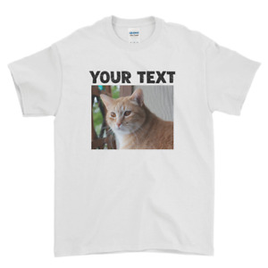 Personalized Text And Image Pet Lover Cute Cat Kitty Men Women Kids Tee Top