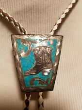 Vintage Signed RSS Sterling Bolo Tie cowboy boot Turquoise Chip Mexico # S 25