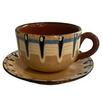 6 X Vintage Retro Pottery Coffee Tea  Set Of Cups & Sauces Brown Glazed & Cream