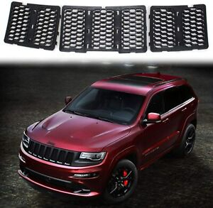 3Pcs Front Honeycomb Mesh Grille Insert Cover Trim For Jeep Grand Cherokee 14-16