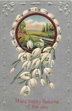 Lovely Snowdrops Around River Scene on 1910 Birthday Postcard - Ser. 793