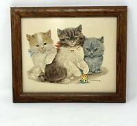 Vintage Kittens Textured Framed Art Print 3 Cats Signed Grace Lopez