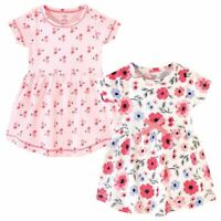 Touched by Nature Baby Organic Cotton Dress 2-Pack, Coral Garden