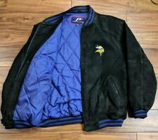 1a4a6d1a3 Pro Player Minnesota Vikings Leather Jacket Mens Medium Quilted Winter  Starter