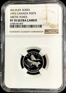 1993 PLATINUM CANADA $75 ARTIC FOXES ENDANGERED WILDLIFE NGC PROOF 70 ULTRA CAM