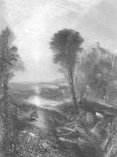 Italy, Rome VILLA ON HILL BY RIVER ~ William TURNER Old 1865 Art Print Engraving
