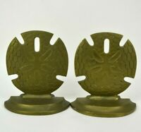 Vintage Solid Brass Sand Dollar Book Ends Sea Shells Nautical Beach House Decor