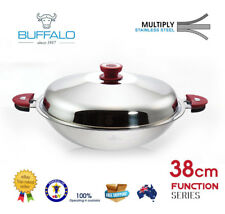 Buffalo Stainless Steel 30cm Flat Bottom Wok -extra 10 off With Code Push10