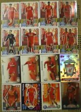 LIVERPOOL FOOTBALL CARDS 16 x MATCH ATTAX & SHOOT OUT with 4 x FOIL's inc CREST
