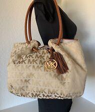 Michael Kors L Jacquard MK Embossed Ring Tassel Trimmed Leather Shoulder Bag