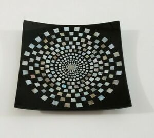 Black Laquered Wood Mother Of Pearl Inlay Tray Dish