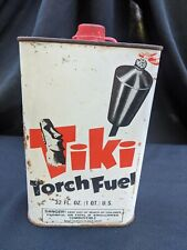 Vtg Tiki Torch Fuel Quart Tin Can Advertising Hawaiiana Display Empty