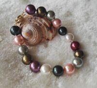 shell pearl bracelet, 10mm mehrfarbigen Muschelkernperlen Armband