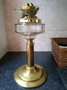 OLD HINKS No 2 Duplex Brass Oil Lamp Glass Font Thick Column Hinks No 2 Burner