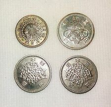 Lot of 4 Japan Silver Coins  Meiji, Olympic etc. - dy-9