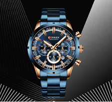 Men's Watch Dial Stainless Steel Band Date Mens Business Male Watches Water