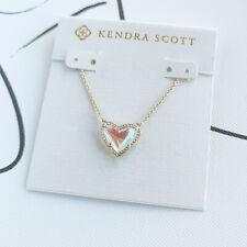 Kendra Scott - Ari Heart Gold Pendant Necklace Dichroic Glass