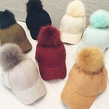 Fashion Womens Girl Hat Faux Fox Fur Pom pom Ball Suede Adjustable Baseball Cap