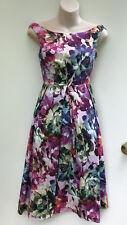ASOS Petite Colourful Floral Vintage Style Stretch Cotton Fit & Flare Dress 10