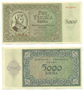 CROATIA NOTE 5000 KUNA 15.7.1943 SERIAL W P 14a UNC