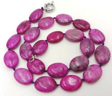 13x18mm Natural Pink Oval Agate Onyx Gemstone Beads Necklace 18''