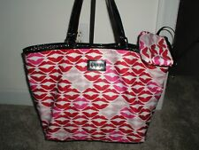 NWOT AUTH LULU GUINNESS Wite  LILY LIP PRINT TOTE SHOULDER SHOPPER BAG LARGE