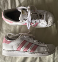 Adidas Originals Kids' Superstar J Pink/White  Size 1.5 Very Good Condition