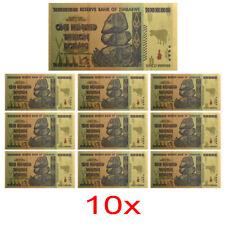 10x Zimbabwe 100 Trillion Banknote Gold Bill World Money Value Collection 2h