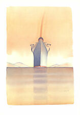 "JEAN-MICHEL FOLON Rainbow on a Boat SIGNED 35"" x 25.5"" Offset Lithograph 1978"
