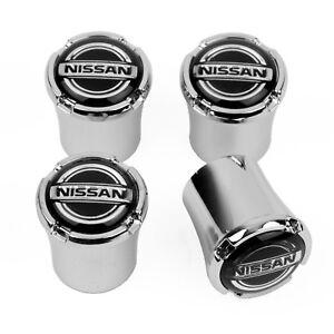 Nissan Logo Chrome Valve Stem Caps - for Nissan - Licensed - USA MADE