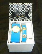 NICOLE by NICOLE MILLER NWT Light Aqua Blue/Gold Enamel Watch/Bangle Set $50