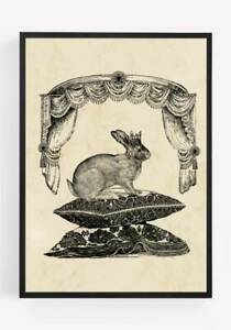 Rabbit Print Picture Wall Art Unframed Vintage home Decor A4 8