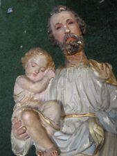 Antique Figurine Religious Christianity st-Joseph Jesus old cherub Putti old
